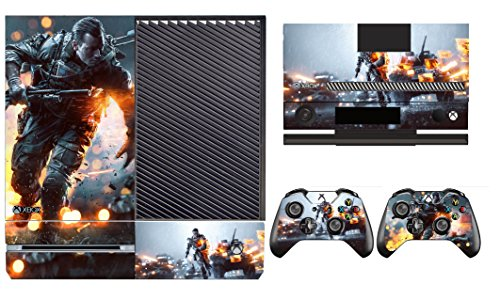 Battlefield Vinyl Decal Skin Sticker for Xbox One Console+ 2 Hand Controllers dobe tyx 619s dual usb cooling fan for xbox one s console