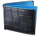 Legare 財布 二つ折り レザー 革財布 メンズ カード たくさん入る 2つ折り財布 10色 (クロコ×ブルー)