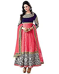 Surat Tex Women's Georgette Long Anarkali Unstitched Dress Material (Dress_152_FreeSize_Pink)