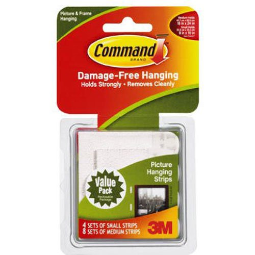 Command Picture Hanging Strips Variety Value Pack, 4-Small and 8-Medium Strips (17203-ES)