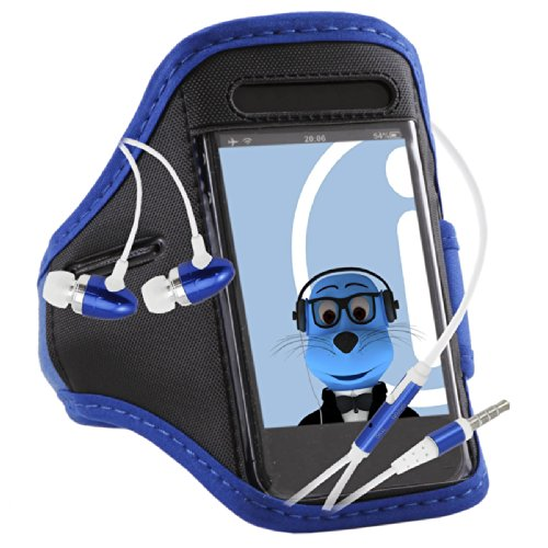Italkonline Lg G3 S Beat Duos Blue Black Sports Gym Jogging Armband Arm Band Case Cover With 3.5Mm Aluminium Headphones Handsfree Mic And On/Off Switch