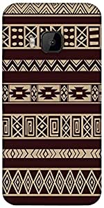 Snoogg Brown Aztec Pattern Designer Protective Back Case Cover For Htc One M9
