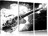 Guitare brûler, brûler guitare, peinture sur toile, 3 piÚces 120x80 sur toile, XXL Photos complÚtement encadrée avec de grands cadres de coin, d'impression d'art sur l'image de mur avec cadre, mieux comme une peinture ou une peinture Ã