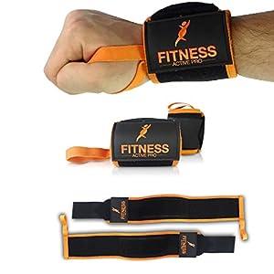 Protège-poignet (Lot de 2) - Bracelet main-poignet wrap FITNESS ACTIVE PRO - Coutures SPÉCIALES doublées - Bandes de poginet avec Velcro et Scratch PREMIUM - EXTRA Robuste et haute qualité - Garantie ANTI CRAQUAGE assurée - Attèle poignet pour musculation ou crossfit