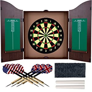 TG Dartboard Cabinet Set with Realistic Walnut Finish