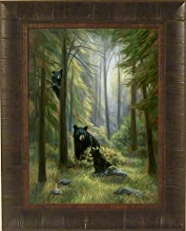 Spirits Of The Forest by Lucie Bilodeau 17x21 Black Bear and Cubs Art Print Wall Décor Framed Picture