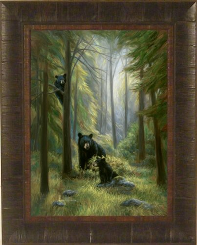 Spirits Of The Forest by Lucie Bilodeau 17x21 Black Bear and Cubs Art Print Wall Décor Framed Picture (Framed Bear Art compare prices)