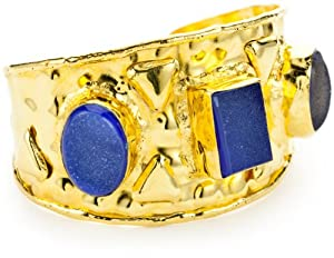 Devon Leigh Royal Blue Drusy 18k Plated Cuff