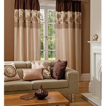pas cher rideau beige marron creme fausse soie plisse double 2 3 metres acheter en ligne. Black Bedroom Furniture Sets. Home Design Ideas