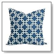 Navy Blue Links Large Throw Pillow