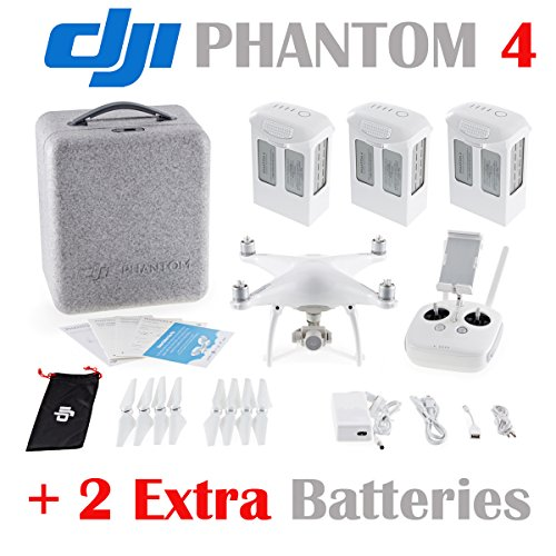 DJI-Phantom-4-Quadcopter-w-4K-HD-Camera-Gimbal-2-Extra-Batteries-Total-3-batteries