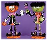 """20"""" Metal Frankenstein & Jack O'lantern Standing Halloween Figures - Set of 2"""