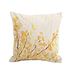 Cotton Linen Decorative Throw Pillow Case Cushion Cover (Yellow Flower) 18 \