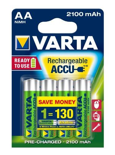 Varta LongLife ACCU 2100 mAh Stilo AA Batterie Ricaricabile conf. 4 pezzi