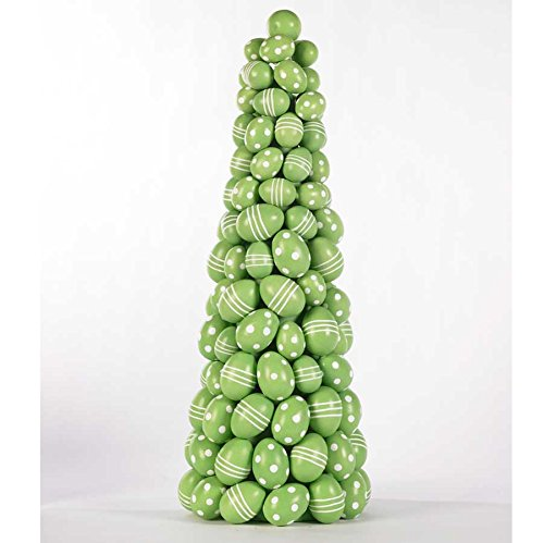 Green Dot/Stripe Egg Cone Topiary