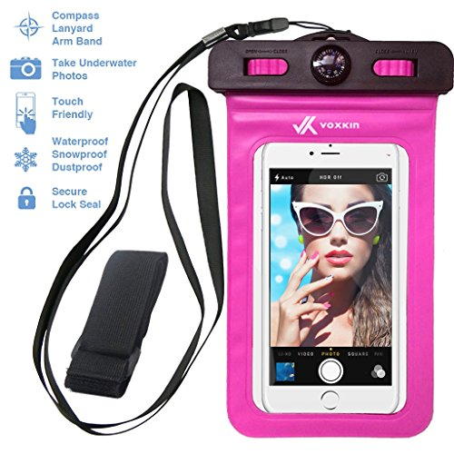 Voxkin ®★ PREMIUM QUALITY ★ Universal Waterproof Case including ARMBAND ✚ COMPASS ✚ LANYARD - Best Water Proof, Dustproof, Snowproof Bag for iPhone 6S, 6, 6 Plus, 5, Galaxy S6, S5 Note 4 or Any Phone