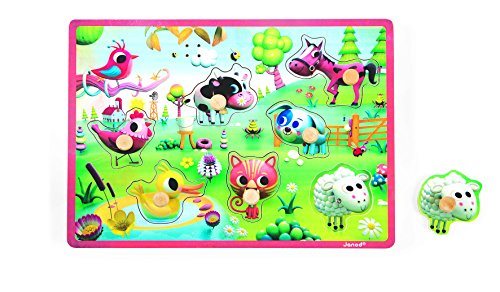Janod Meadow Animals Musical Puzzle