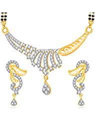 VK Jewels Timeless Touch Gold And Rhodium Plated Mangalsutra Pendant Set With Earrings For Women-MP1170G [VKMP1170G]
