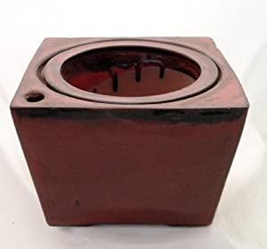 "Square Self Watering Ceramic Pot with Felt Feet - Red - 6"" x 4 3/8"" - #11088red"