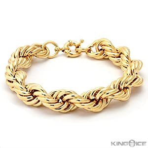 Run DMC Fat Gold Rope Hip Hop Dookie Chain Bracelet