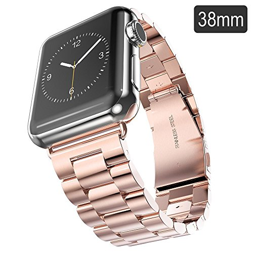 Evershop®Apple Watch Band 38mm Stainless Steel Strap Wrist Band Replacement Metal Clasp for Apple Watch All Models 38mm(Stainless Steel Strap-38mm Rose Gold)