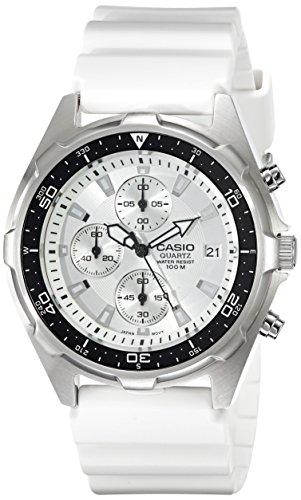 Casio-Mens-AMW380-7AV-Classic-Analog-Chronograph-White-Resin-Band-Watch