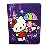Violet Candy - Hello Kitty Cute Cartoon Synthetic Leather Case + Soft TPU Cover Skin For Apple Ipad 2 3 4 New ipad Package includes: 1X Stylus Pen image