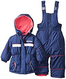 Pink Platinum Baby Girls\' Athletic Snowsuit, Navy, 12 Months