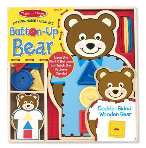 Melissa & Doug Button-Up Bear Pattern Match Lacing Set - 1