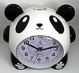 目覚まし時計 ベル メロディー 選択 可能 ライト 付 アナログ かわいい パンダ キャラ こども 部屋 デザイン インテリア 置時計 置き時計