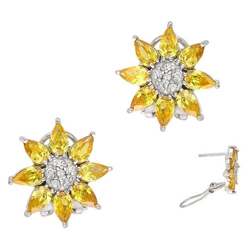 C.Z. (.925) STERLING SILVER YELLOW FLOWER RHODIUM PLATED EARRINGS (Nice Holiday Gift, Special Black Firday Sale)