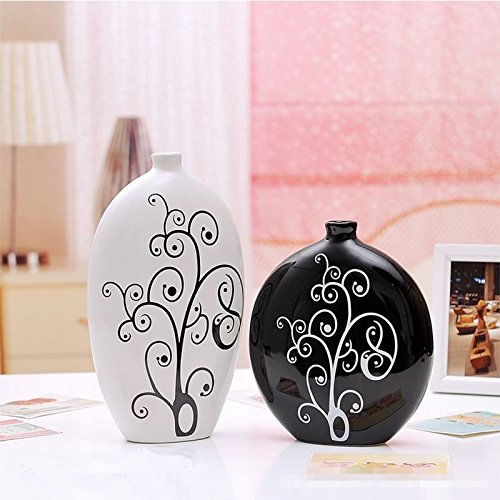 Japanese ceramic handicrafts Home Furnishing beautifully minimalist black and white vase simple flower pattern Home Decor