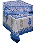Chhipaprints Rectangle Blue Border Table 8 Chair