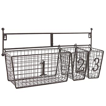 Wall Mounted Black Metal Wire Mesh Numbered Storage Basket Set / Multipurpose Accessory Organizer Rack