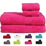 Casa Basics 450 GSM Premium Quick Dry 4 Pcs Bath Towels Set- Pink(Bath, Hand Towel Set)