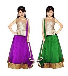 Purva Art Purple & Green Net Kid's Lehengha Choli