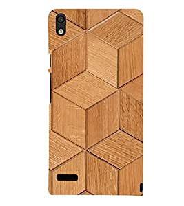 printtech Wooden Cube Stairs Back Case Cover for Huawei Acend P6
