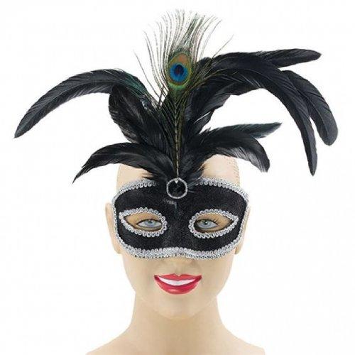 Imagen 1 de BLACK VENETIAN MASQUERADE PARTY EYE MASK WITH TALL PEACOCK FEATHER (máscara/ careta)