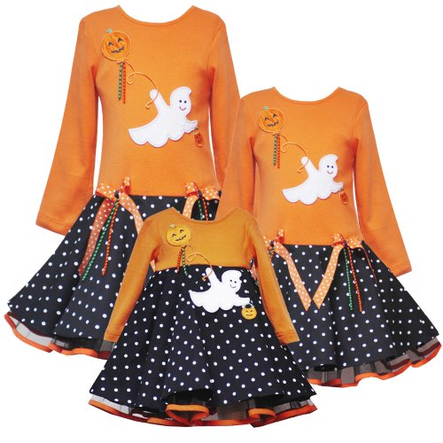 Rare Editions Baby 3M-9M ORANGE BLACK WHITE POLKA DOT EMPIRE WAIST SEQUINED GHOST Halloween-Theme Girl Party Dress-9M-RRE-21809F-F621809