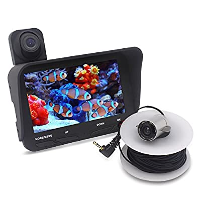 GIWOX Dual-Camera Video Fish Finder - 3.0 Megapixels Overwater Camera, 2.0 Megapixels Night Vision Underwater Camera, 20m Waterproof Cable & 4.3inch HD TFT LCD Monitor (Black)