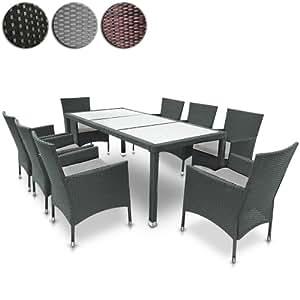 Salon De Jardin Terrasse Gris Ensemble 8 Chaises Table Blanc 190 X 90 X 75 Cm Diverses