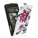 High Quality PU Leather Magnetic Flip Case Cover Pouch for HTC One X New Stylish Printed - Purple Flower