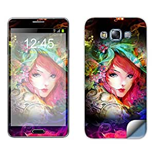 Skintice Designer Mobile Skin Sticker for Samsung Galaxy E7, Design Neon Girl