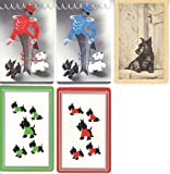 5 Vintage Single Swap Playing Cards Scottie Dogs