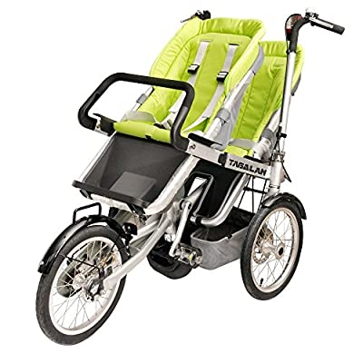 Tagalan 3 Wheels Mother Baby Bike Stroller Folding Bicycle 16inch Pushchair Bike Carrier 3 in 1 With Canopy (2 Seats, Green)