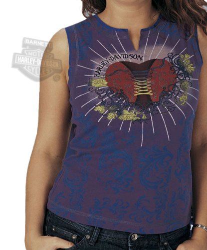 Harley-Davidson Womens Corset Heart V-Notch Purple Sleeveless Large