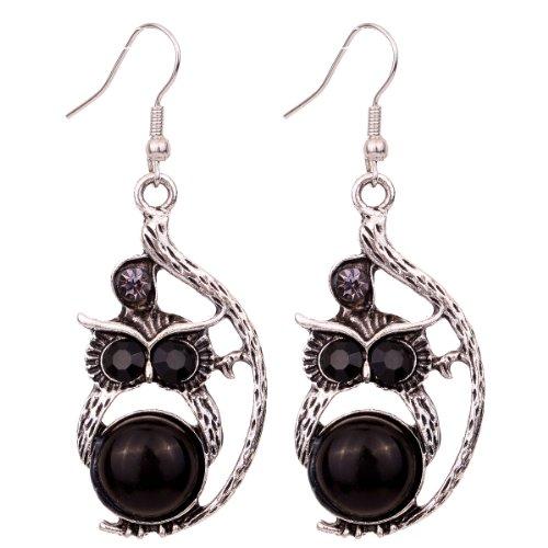 Yazilind Tibetan Silver Grace Owl Ear Wire Hook Dangle Earrings Black Eye Crystal Inlay Design Retro