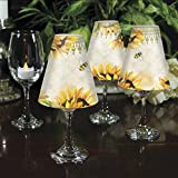CounterArt Sunflowers in Bloom Decorative Wine Glass Shade, Set of 4