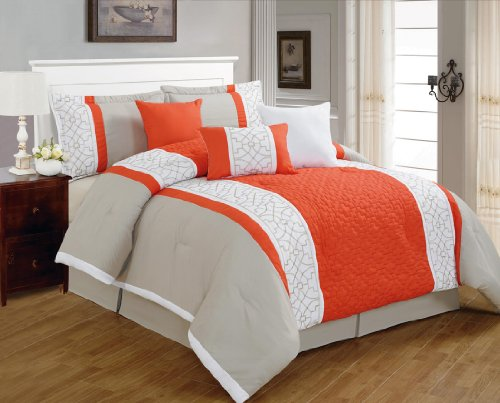 Read About 7 Pieces Luxury Coral Orange, Grey and White Quilted Linen Comforter Set / Bed-in-a-bag Q...