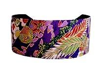 Bargain Headbands, Kimono Inspiration Gold Outlined Cherry Blossom Soft Headband